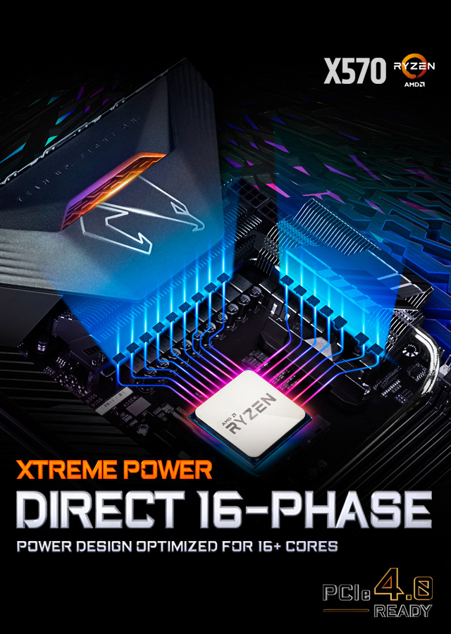 Direct 16 Phase Power Design - X570 AORUS Xtreme Motherboard